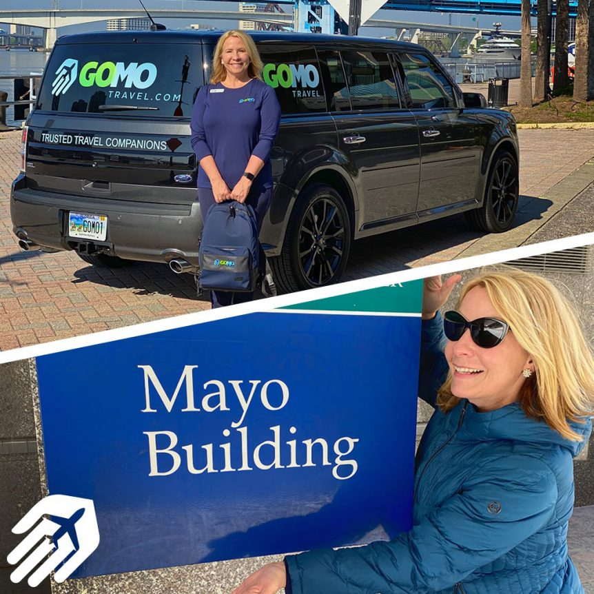 Kerri Johnson standing in front of Gomo Travel SUV and Mayo Clinic sign